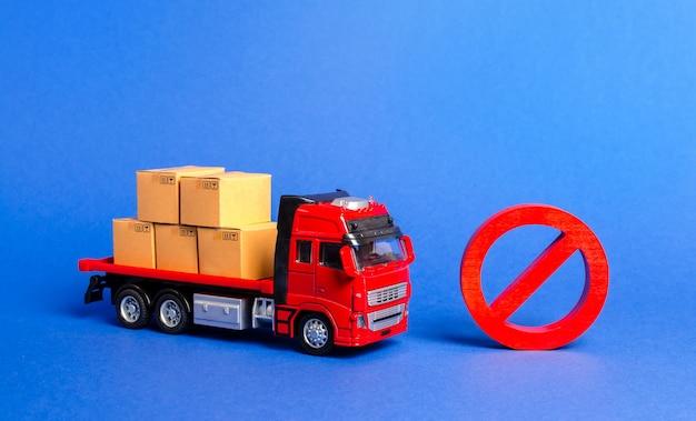 Грузовик с ящиками и красным знаком запрета нет эмбарго торговых войн ограничение