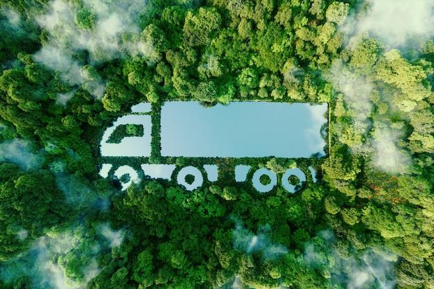 깨끗한 자연 속에 있는 트럭 모양의 호수로 전기, 하이브리드 또는 수소 추진의 형태로 깨끗하고 온실이 없는 운송의 개념을 보여줍니다. 3d 렌더링.