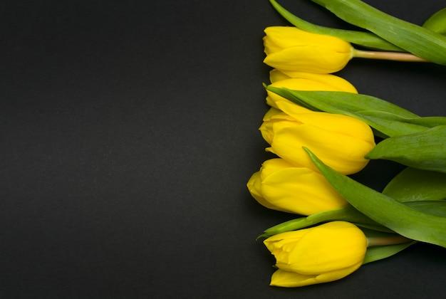 黒の背景にチューリップの花。お悔やみのカード。