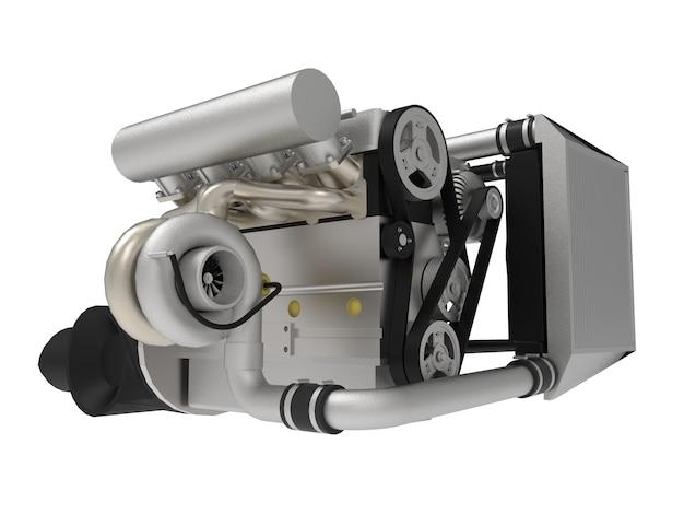 스포츠카를 위한 고성능 터보차저 4기통 엔진. 3d 렌더링.