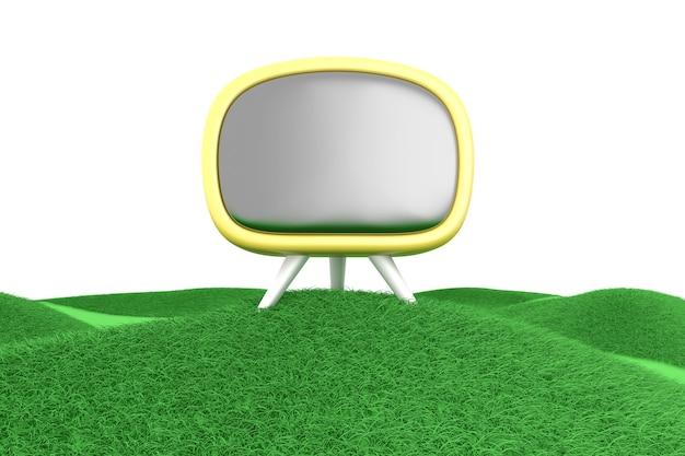 緑の丘のテレビ。