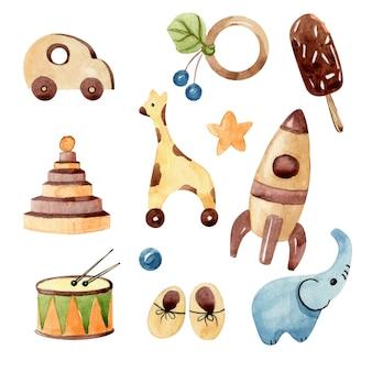 다양한 어린이 장난감 수채화 ilustrations