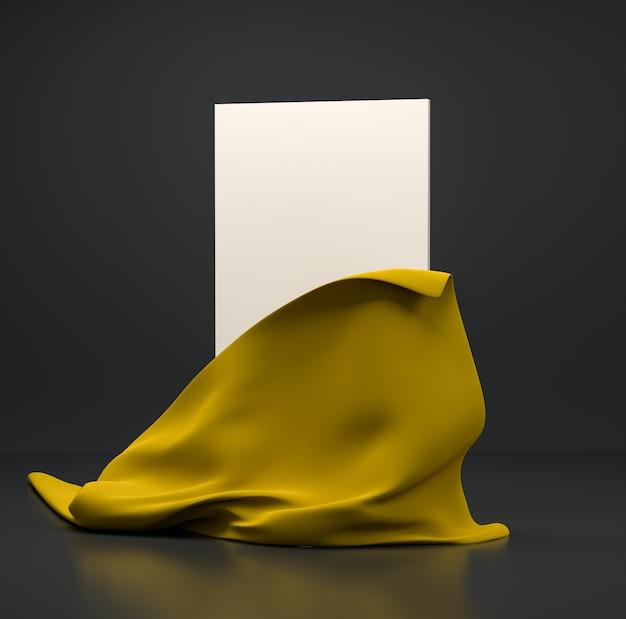 暗い背景にオリーブグリーンの布で包まれた垂直の白いスタンド。バナー、プレゼンテーション、広告のテンプレート。 3dイラスト