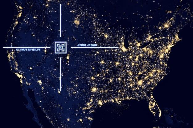 地球表面の衛星からの眺め、ジオロケーション、gps座標。