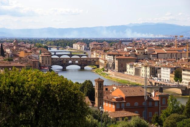 ミケランジェロ広場からのフィレンツェとアルノ川の眺め