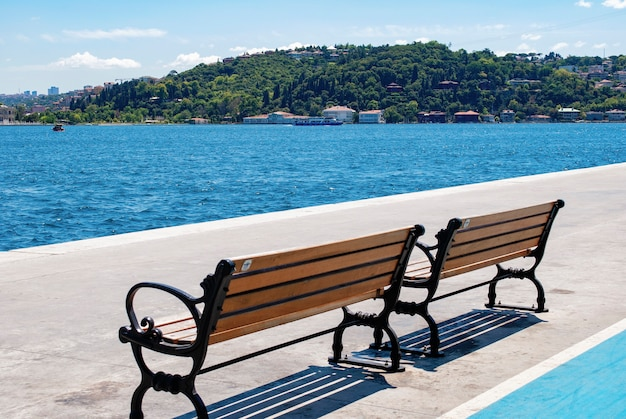 Вид на турецкую природу и босфор с набережной в районе арнавутки стамбула.