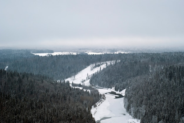 Вид на зимнюю долину замерзшей реки среди заснеженных лесистых холмов. вид сверху.