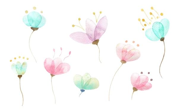 다른 추상 꽃 봉오리 파스텔 섬세한 색상 격리 된 요소의 수채화 세트