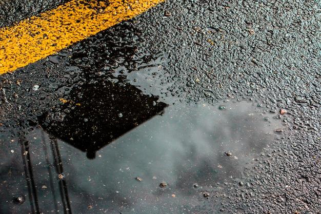 濡れた路面のアスファルト