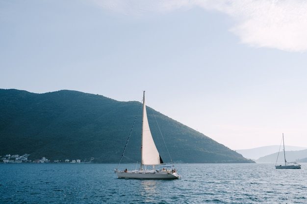 湾の穏やかな水に人が浮かぶ白い帆船