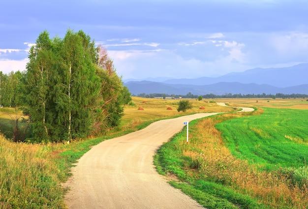 Извилистая дорога из гравия в поле под вечерним голубым небом. алтай, сибирь, россия