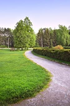 조경된 정원의 구불구불한 길 신선한 잎이 있는 나무 잔디밭에 봄 풀