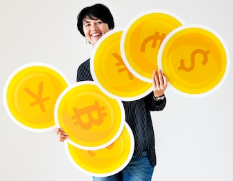 A woman carrying coin icons