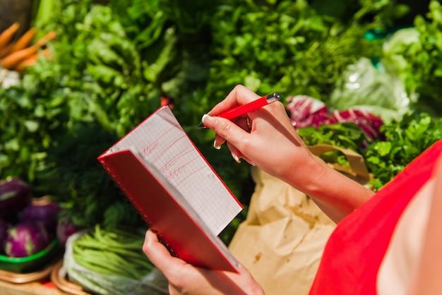 Женщина вычеркивает покупки