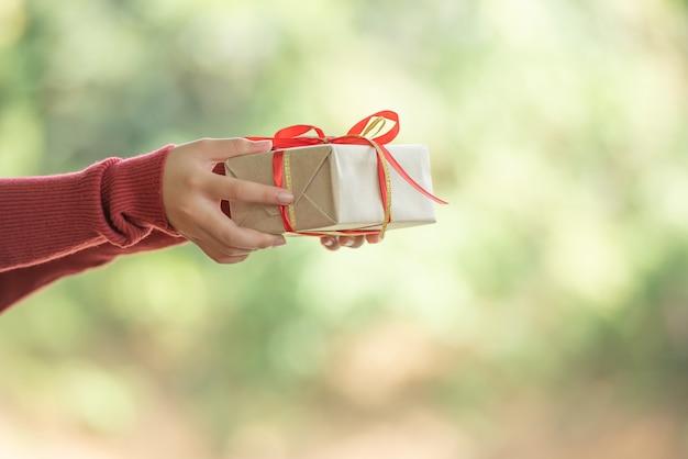 여자는 아름다운 손에 작은 선물 상자를 보유하고 있습니다. 소녀는 자연 숲에서 초점 배경에서 녹색 잎 bokeh를 배경으로 야외입니다.