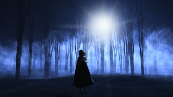 A woman in a dark forest