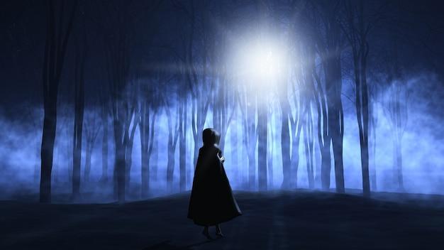 3d визуализации женщины в плаще ходить в туманной жуткий лес