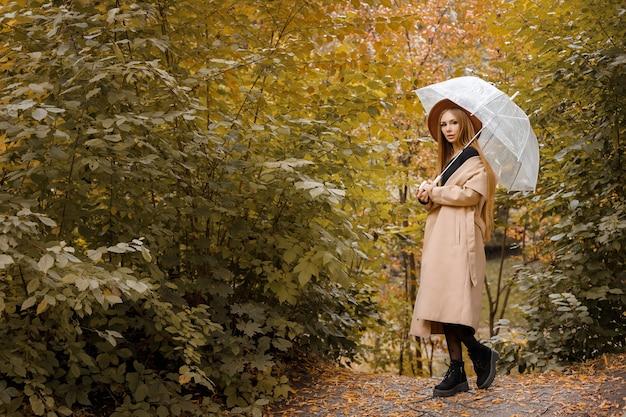 秋の傘をさした秋の服を着た女性。テキスト用の空き容量