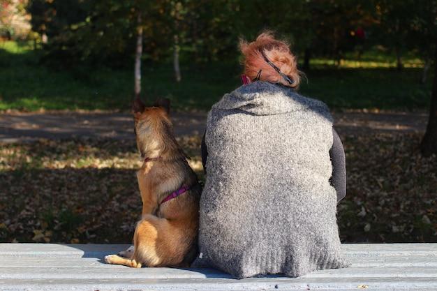 放棄と孤独の象徴として、女性が犬と一緒に座っている