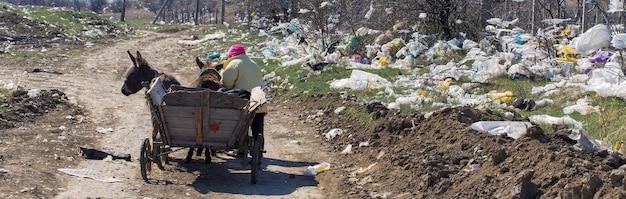 Женщина ведет тележку по дороге через помойку. экологическая катастрофа.