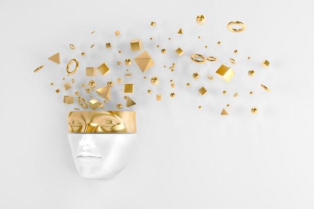 머리에서 날아오는 물체가 있는 반짝이는 금속 마스크로 벽 밖으로 엿보는 여성의 얼굴. 3d 일러스트레이션