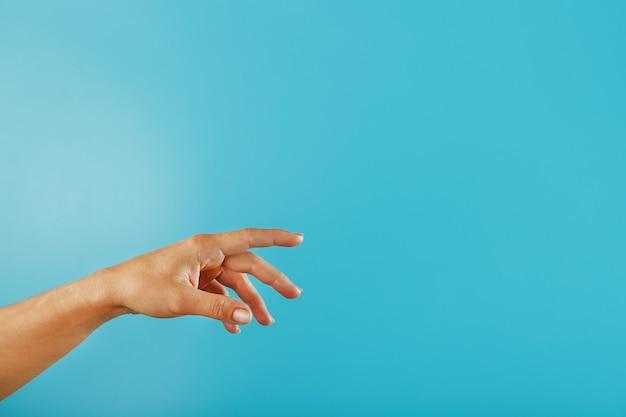 Женская рука, требующая поддержки и помощи, тянется к синей стене. концепция обращения за помощью и финансовой поддержкой
