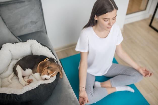子犬が眠っている間に蓮華座に座っている女性
