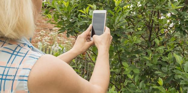 女性が携帯電話で写真を撮り、屋外の庭で植物や木の写真を撮る