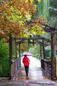 雨の間に傘をさして赤い服を着た女性が都市公園を散歩する
