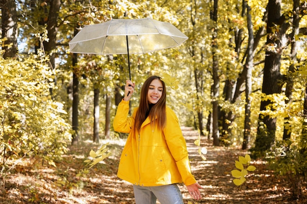 黄色い秋の森の中で透明な傘を持つ女性。秋の気分