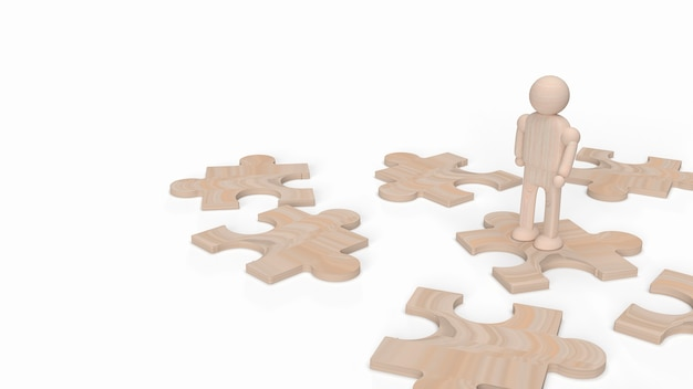 배경 3d 렌더링에 대 한 퍼즐에 나무 인간의 그림.