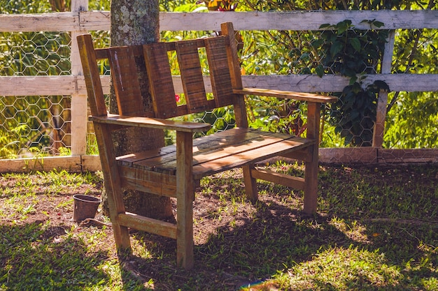 Деревянная скамейка у дерева