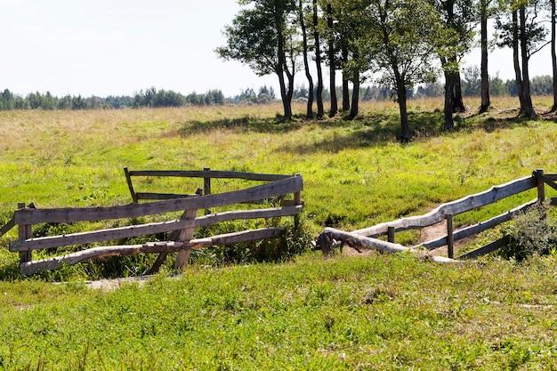 개울 위의 다리 근처의 나무 울타리, 여름의 마을 풍경,