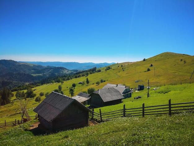 緑の美しい牧草地と山の上の木造の小屋