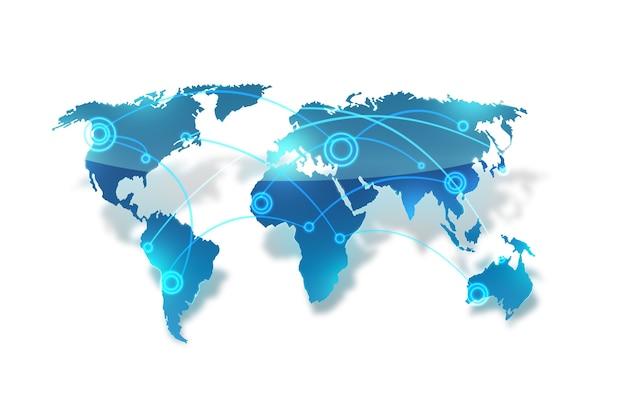 白い背景の上の世界地図上の世界的なネットワーク