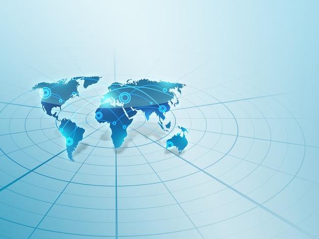 世界地図上の世界的なネットワーク