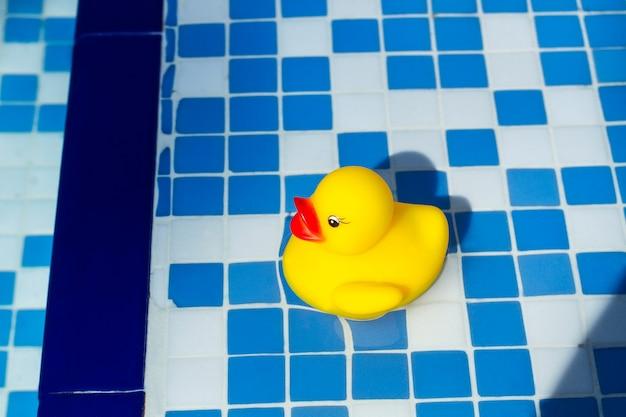 Желтая резиновая утка на воде в бассейне
