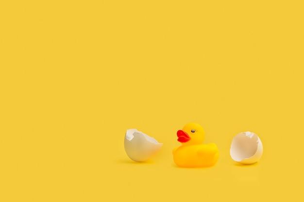 Желтая резиновая игрушечная утка с кусочками яичной скорлупы на желтом