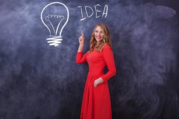 Молодая красивая девушка в красном платье показывает руку на рисунке. на черной доске нарисована лампа и девушка показывает им руку. различные человеческие эмоции, язык тела.