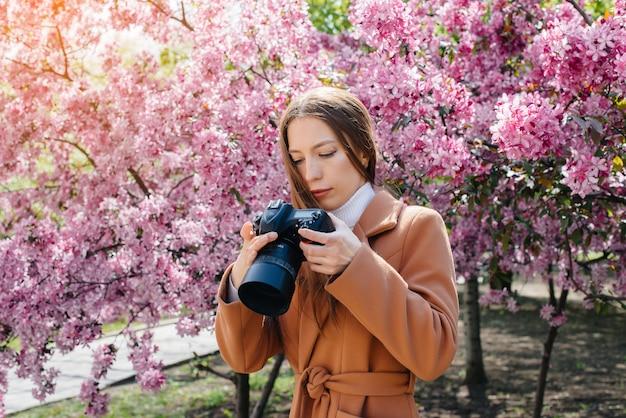 아름 다운 소녀 사진 작가 산책과 피 사과 나무에 대 한 사진을 찍는다. 취미, 레크리에이션.