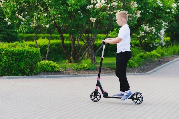 夏には少年が公園でスクーターに乗る。高品質の写真