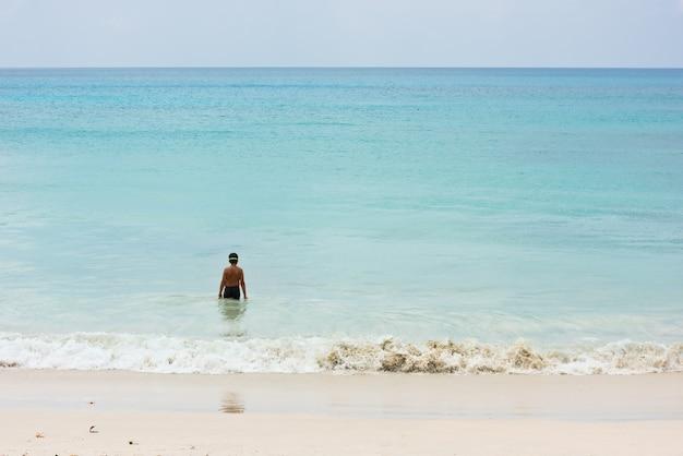 少年が岸に立って海で泳ぎに行く。背面図、認識できない人