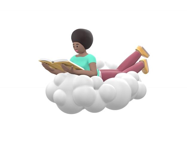 Молодая веселая африканская девушка лежит в небе на облаке и читает книгу
