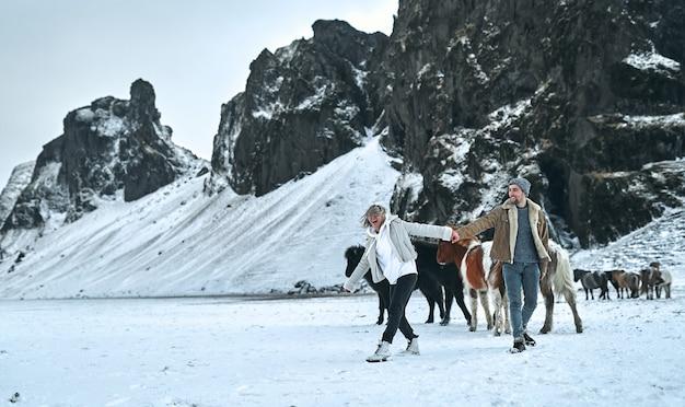 手をつないでいる若いカップルの観光客は、雪をかぶった山の斜面にある野生の馬の牧草地の間を歩きます。