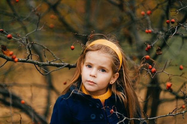 秋の公園でポーズをとる若いかわいい女の子