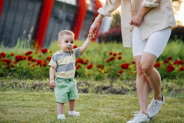若いかわいい母親は、芝生の上の公園で日没時に彼の最初の一歩を踏み出すように彼女の幼い息子を助け、教えます。