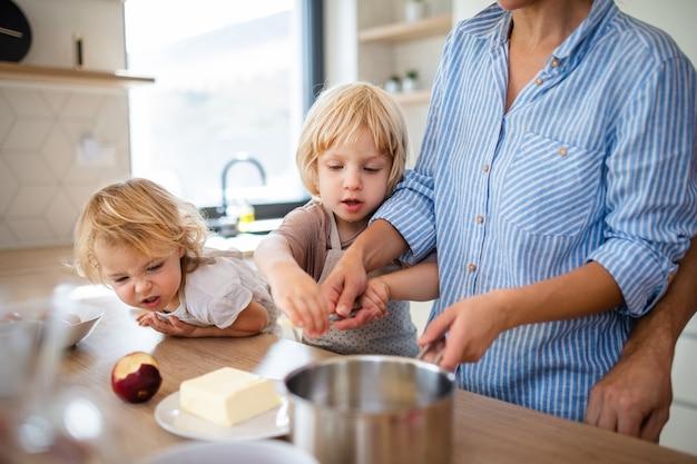 キッチンの屋内で2人の小さな子供がいて、食事を準備している若い家族。