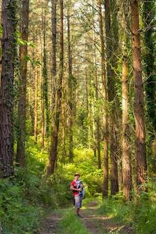 Молодой отец в шляпе и с сыном в рюкзаке и смотрит на сосны в лесу