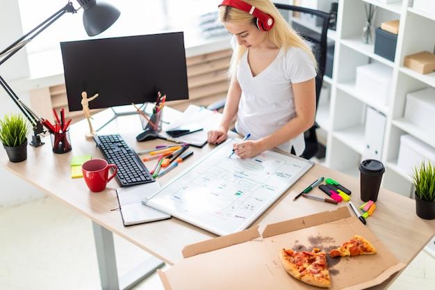 Молодая девушка в наушниках стоит возле стола и держит маркер в руке. на столе магнитная доска.