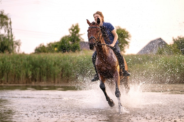 Молодая девушка верхом на лошади на мелководном озере, лошадь бегает по воде на закате, забота и прогулки с лошадью, сила и красота